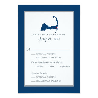 Navy Blue Cape Cod with heart | Wedding RSVP menu Card