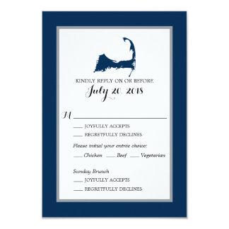Navy Blue Cape Cod with heart   Wedding RSVP menu Card
