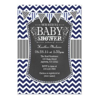Navy Blue Chalkboard Chevron Baby Shower Invite