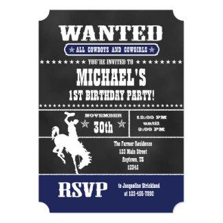 Navy Blue Chalkboard Cowboy Birthday Invitation