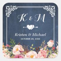 Navy Blue Chalkboard Floral Wedding Favor Square Sticker