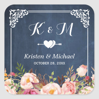 Navy Blue Chalkboard Floral Wedding Favor Square Sticker