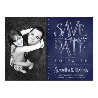 Navy Blue Chalkboard Photo Save the Date Card