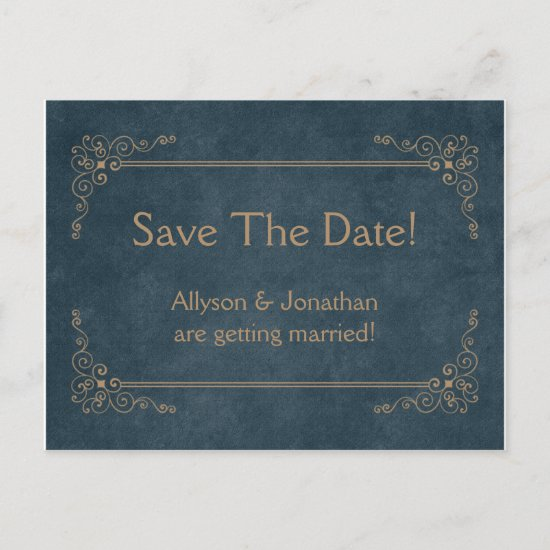 Navy Blue Chalkboard Tan Swirls Save The Date | Announcement Postcard