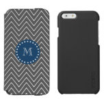 Navy Blue, Charcoal Gray Chevron Pattern iPhone 6/6s Wallet Case
