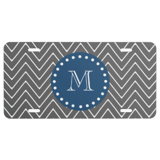 Navy Blue, Charcoal Gray Chevron Pattern License Plate
