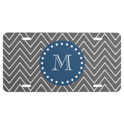 Navy Blue, Charcoal Gray Chevron Pattern License Plate