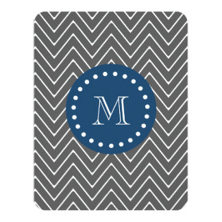 Navy Blue, Charcoal Gray Chevron Pattern | Your Mo Card