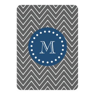 "Navy Blue, Charcoal Gray Chevron Pattern | Your Mo 4.5"" X 6.25"" Invitation Card"