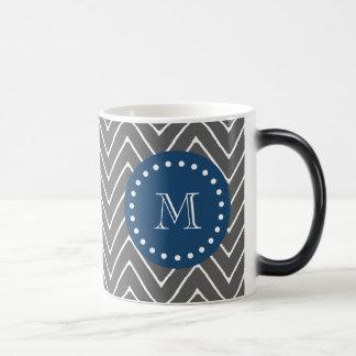 Navy Blue, Charcoal Gray Chevron Pattern | Your Mo Magic Mug