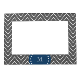 Navy Blue, Charcoal Gray Chevron Pattern   Your Mo Magnetic Photo Frame