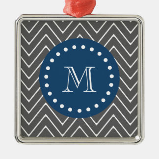 Navy Blue, Charcoal Gray Chevron Pattern | Your Mo Christmas Tree Ornament