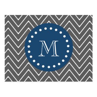 Navy Blue, Charcoal Gray Chevron Pattern | Your Mo Postcard