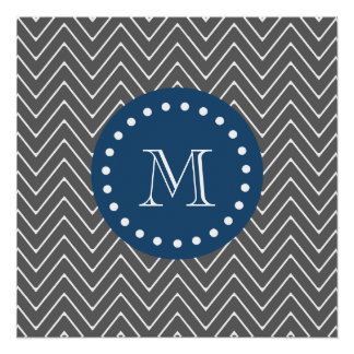 Navy Blue, Charcoal Gray Chevron Pattern | Your Mo Perfect Poster