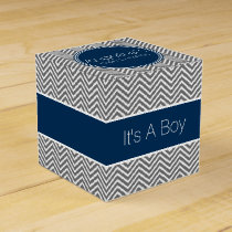 Navy Blue & Charcoal Gray Chevrons Baby Shower Favor Box