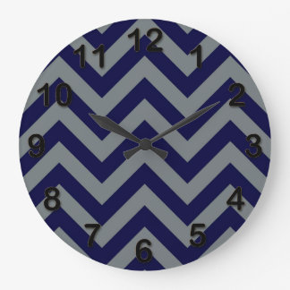 Navy Blue, Charcoal Large Chevron ZigZag Pattern Large Clock
