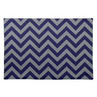Navy Blue, Charcoal Large Chevron ZigZag Pattern Place Mat