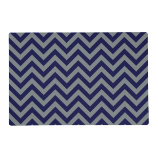 Navy Blue, Charcoal Large Chevron ZigZag Pattern Placemat