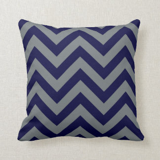 Navy Blue, Charcoal Large Chevron ZigZag Pattern Throw Pillow