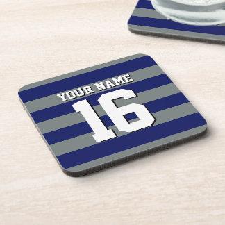 Navy Blue Charcoal Team Jersey Preppy Stripe Coaster