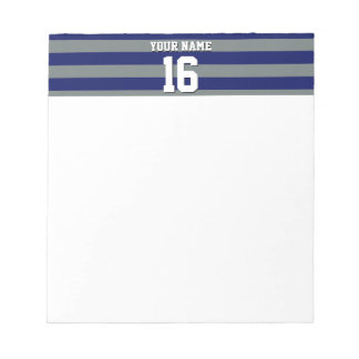 Navy Blue Charcoal Team Jersey Preppy Stripe Notepad