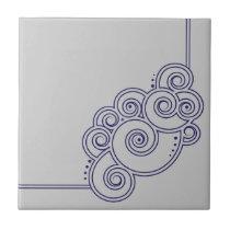 Navy Blue Charming Swirls Tile