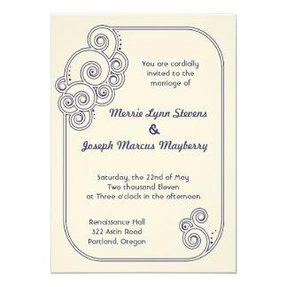 Navy Blue Charming Swirls Wedding Invitation