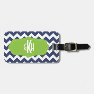 Navy blue chevron and green. Monogram Bag Tag