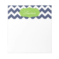 Navy blue chevron and green. Monogram Notepad