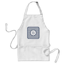 Navy Blue Chevron Monogram Adult Apron