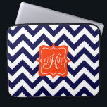 "Navy Blue Chevron Monogram Computer Sleeve<br><div class=""desc"">A customizable orange monogram frame is on a background of a bold navy blue and white chevron pattern.</div>"