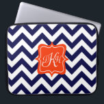 """Navy Blue Chevron Monogram Computer Sleeve<br><div class=""""desc"""">A customizable orange monogram frame is on a background of a bold navy blue and white chevron pattern.</div>"""