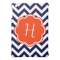 Navy Blue Chevron Monogram iPad Mini Case