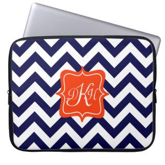 Navy Blue Chevron Monogram Laptop Sleeve