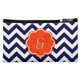 Navy Blue Chevron Monogram Makeup Bag