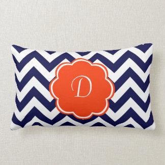 Navy Blue Chevron Monogram Throw Pillows
