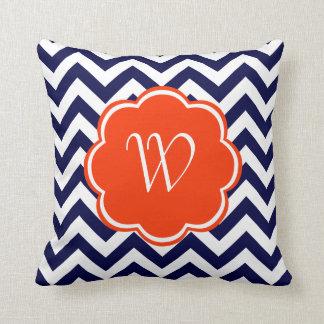 Navy Blue Chevron Monogram Pillows