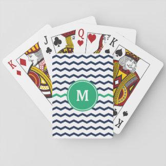 Navy Blue Chevron Monogram Playing Cards