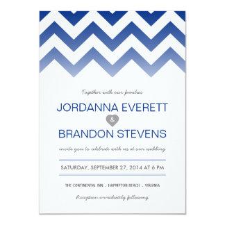 Navy Blue Chevron Ombre Wedding Invitations