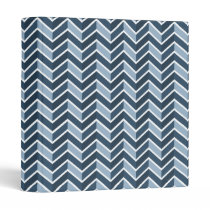 Navy Blue Chevron Pattern Binder