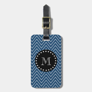 Navy Blue Chevron Pattern | Black Monogram Bag Tag