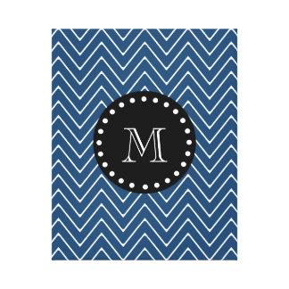 Navy Blue Chevron Pattern | Black Monogram Canvas Print