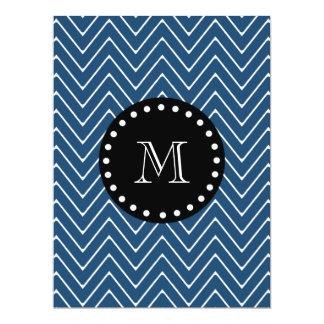 Navy Blue Chevron Pattern | Black Monogram 6.5x8.75 Paper Invitation Card
