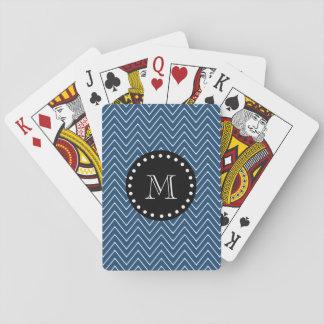 Navy Blue Chevron Pattern | Black Monogram Playing Cards
