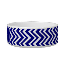 Navy Blue Chevron Pattern Bowl