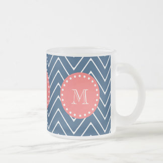 Navy Blue Chevron Pattern   Coral Monogram Frosted Glass Coffee Mug