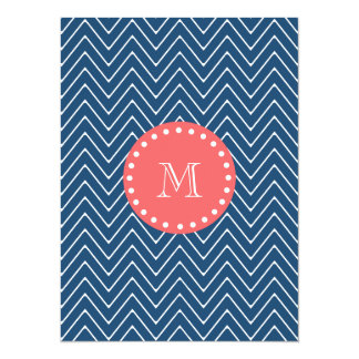 Navy Blue Chevron Pattern | Coral Monogram 5.5x7.5 Paper Invitation Card