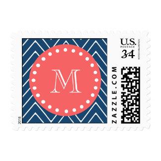Navy Blue Chevron Pattern | Coral Monogram Stamp