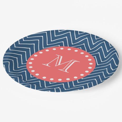 navy blue chevron pattern coral monogram 9 inch paper plate zazzle. Black Bedroom Furniture Sets. Home Design Ideas