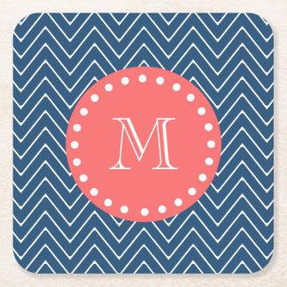 Navy Blue Chevron Pattern | Coral Monogram Square Paper Coaster